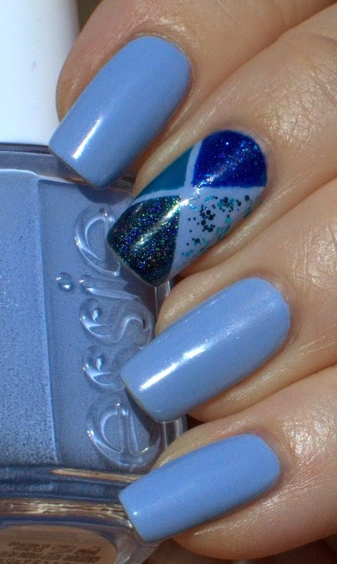 Essie Bikini So Teeny with Girly Bits Blue Eyed Lawyer, Lilypad Lacquer Deep Blue Seeing, Essence Bonnie and Picture Polish Splash
