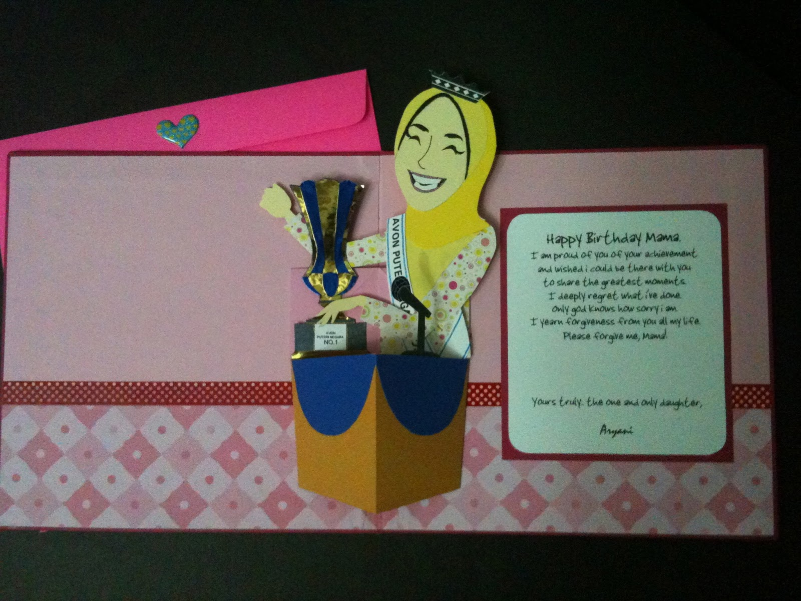 Handmade greeting cardcrafts bestfriends made it kad order dari pop up card vertical kristyandbryce Image collections