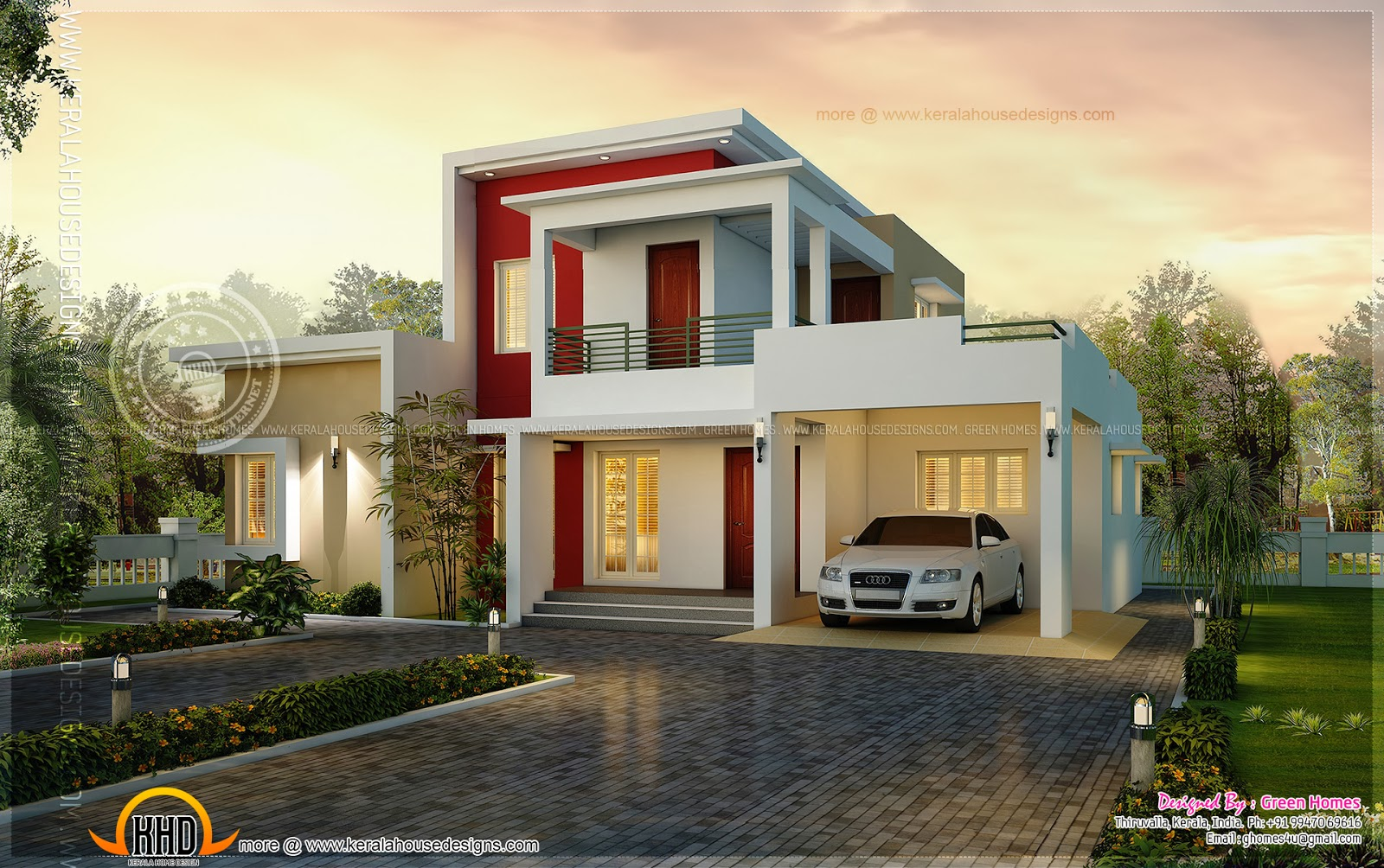 Awesome modern house in 195 square meter indian house plans Modern square house