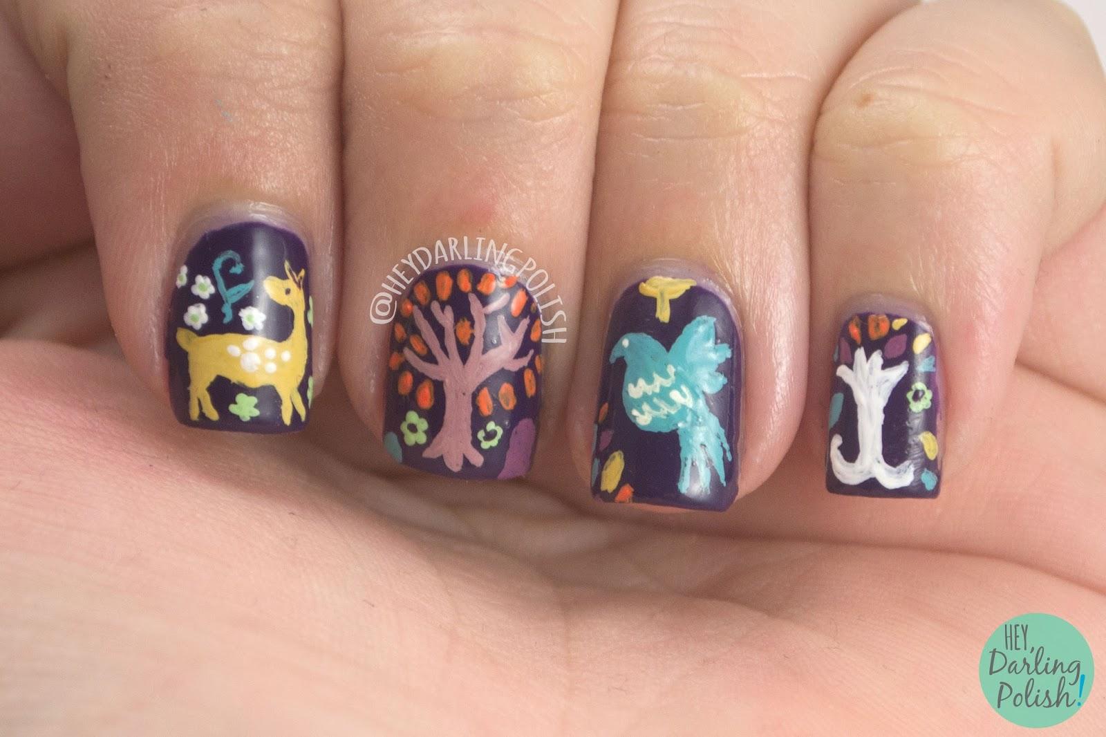 nails, nail art, nail polish, violet, purple, pattern, hey darling polish, 31 day challenge, 31dc2014,