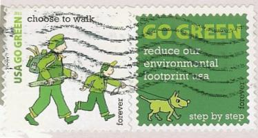 walking and GO GREEN stamps
