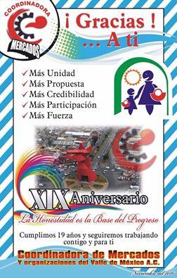 ANIVERSARIO XIX DE LA COORDINADORA DE MERCADOS DEL VALLE DE MÉXICO