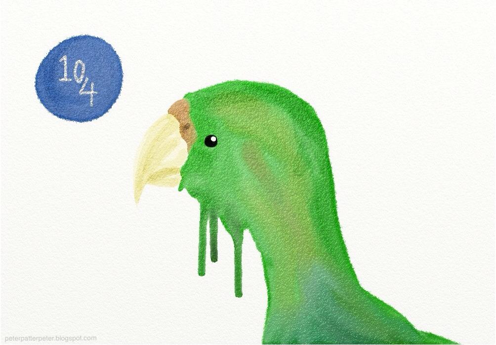 green bird watercolour