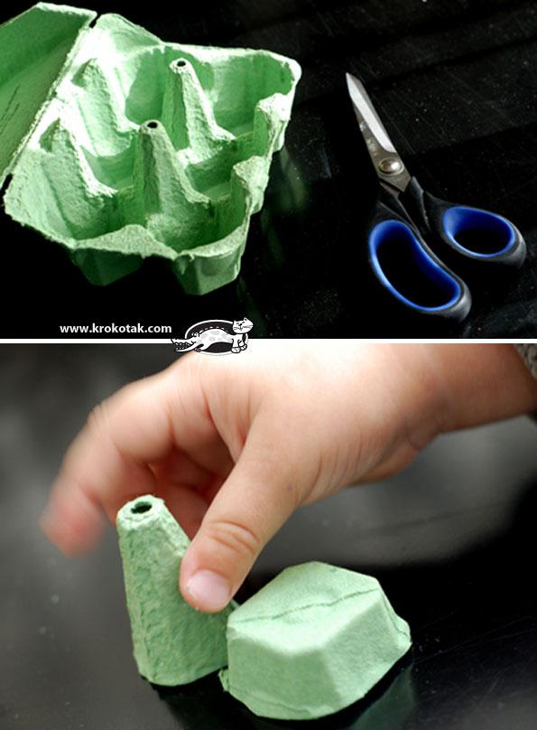 Yumurta kolisinden parmak kukla mantar krokotak com