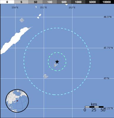 Epicentro terremoto islas Kuriles, 11 de Julio 2012