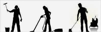 Silhouette icons of three figures doing various kinds of housekeeping