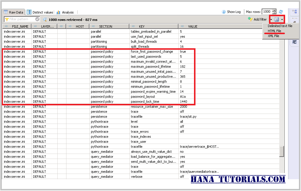SAP HANA M_INIFILE_CONTENTS