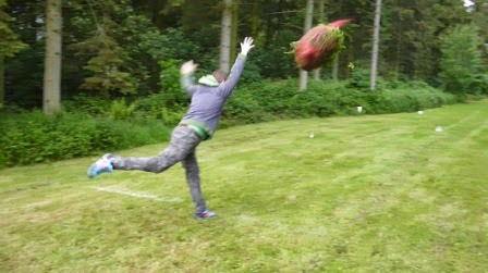 Launching a Nordman Fir in the Christmas Tree Throwing Competition at the Yattendon & Frilsham Fete
