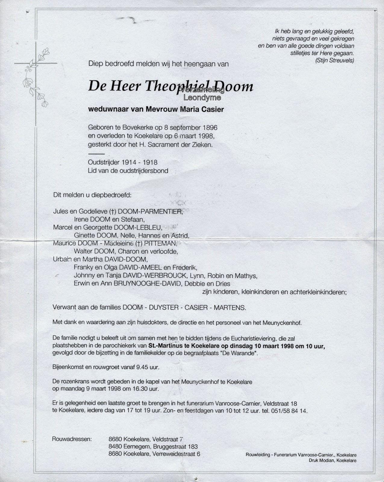 Rouwbrief, Theophiel Doom 1897-1998. Verzameling Leondyme