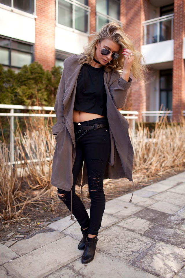 Urban outfitters slouchy trench, Silence + Noise Parka, Ripped Frame Denim, Brave Leather