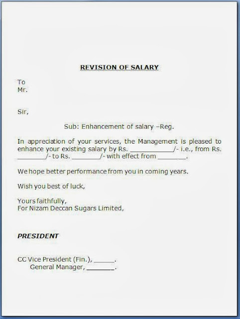 every bit of life salary revision letter format