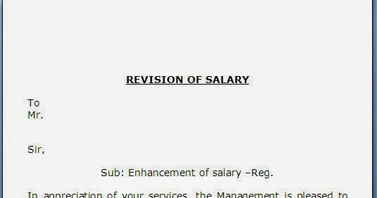 salary revision letter format