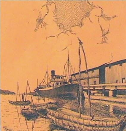 """Dibujo a Pluma por el Dr(c) Arq.E.Pari P.""""Llegada del Navío en Puno"""""""