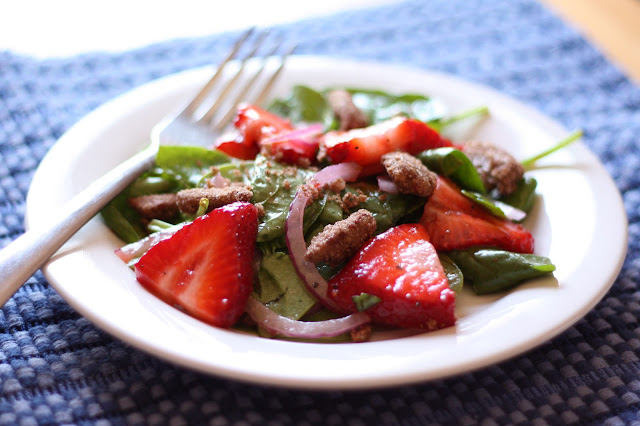 Sweet Strawberry Salad with Cinnamon Pecans recipe by Barefeet In The Kitchen