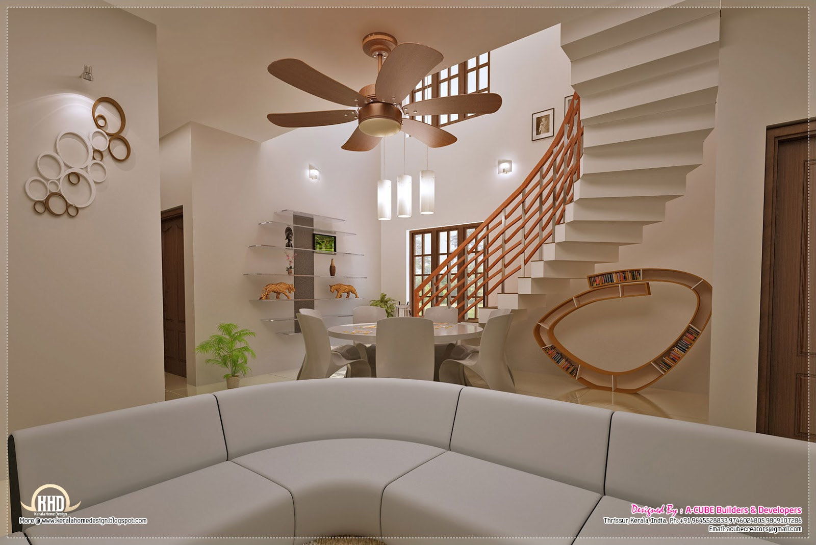 Awesome interior decoration ideas home kerala plans - Stairs design inside house ...