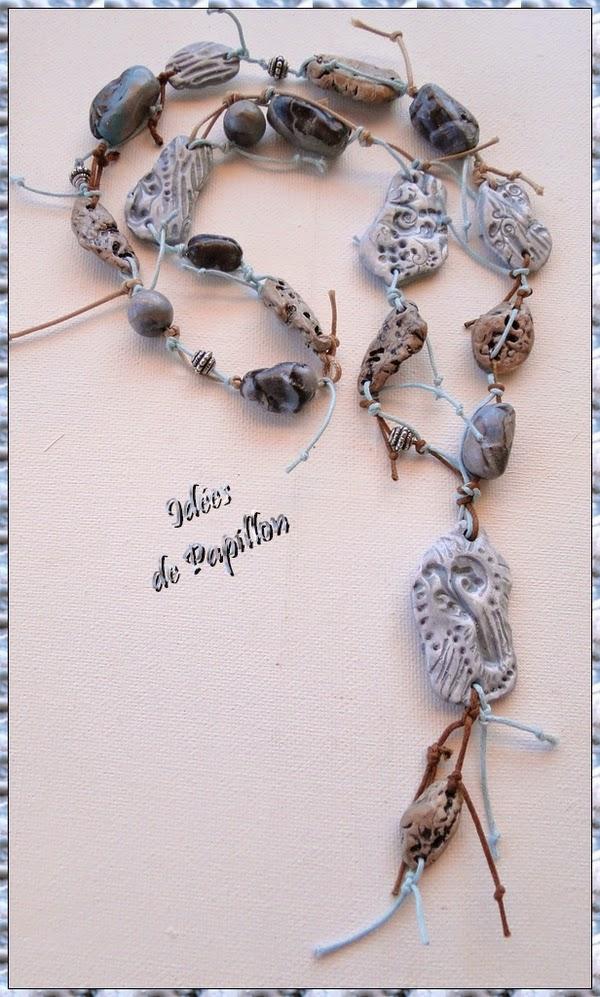 collier perles en fimo, montage sur fil coton
