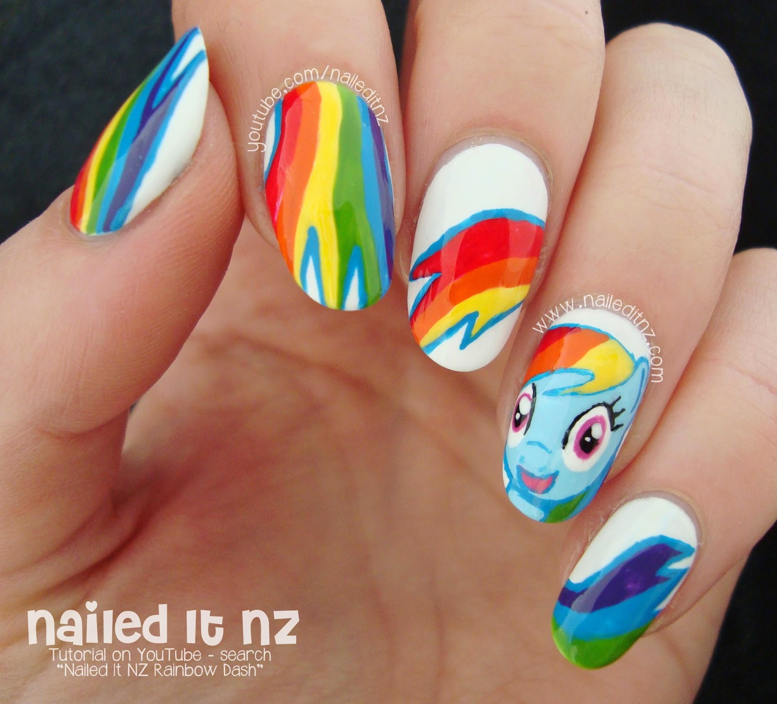 My little pony nail art rainbow dash tutorial perhaps in between halloween and christmas this year or in the new year i could do a big my little pony series what do you think prinsesfo Gallery