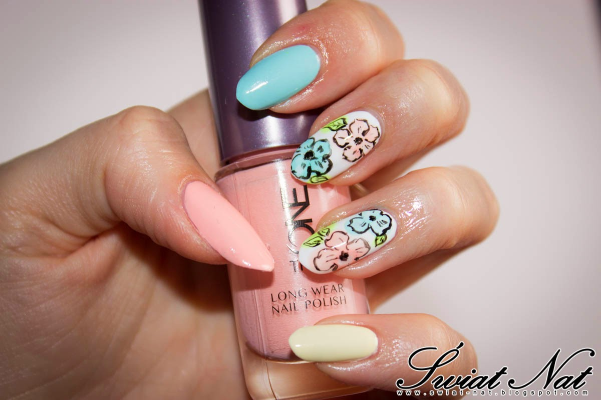 ballerina rose vailla mint kwiatki flowers nails