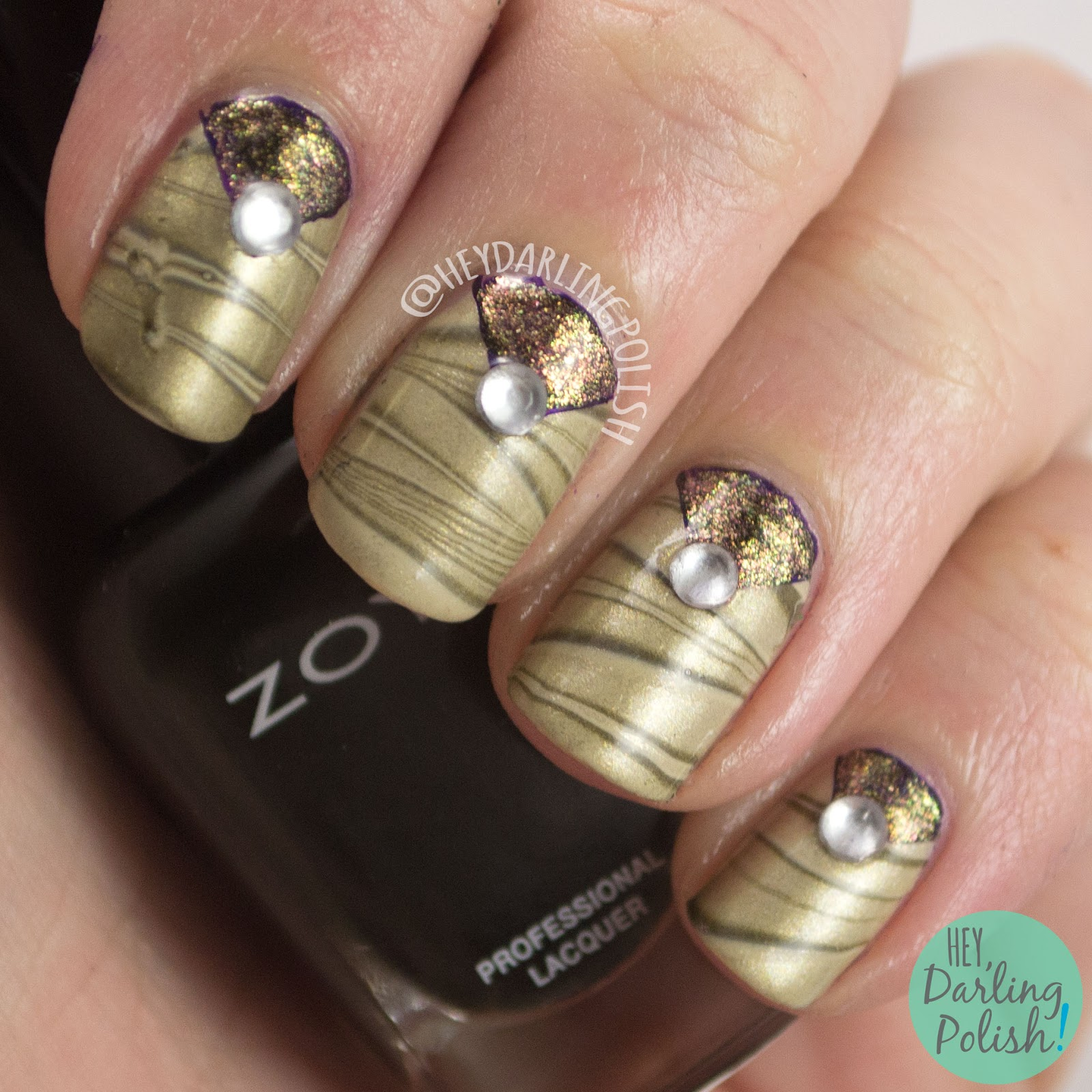 watermarble, nails, nail art, nail polish, zoya, triangles, rhinestones, hey darling polish