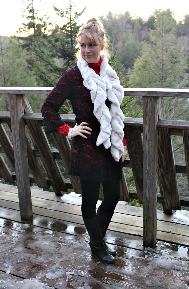 black lace tunic, faux fur scarf