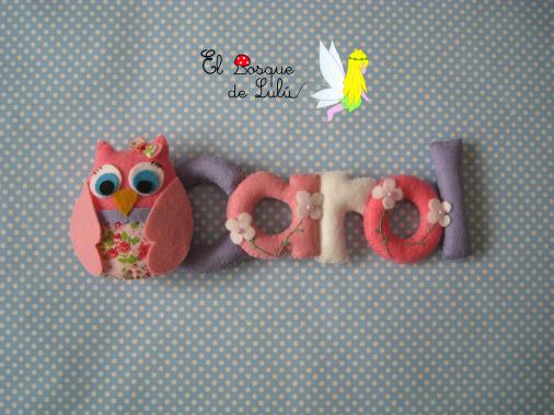 nombre-decorativo-en-fieltro-Carol-decoración-infantil-de-fieltro-letrero-regalo-nacimiento-búho