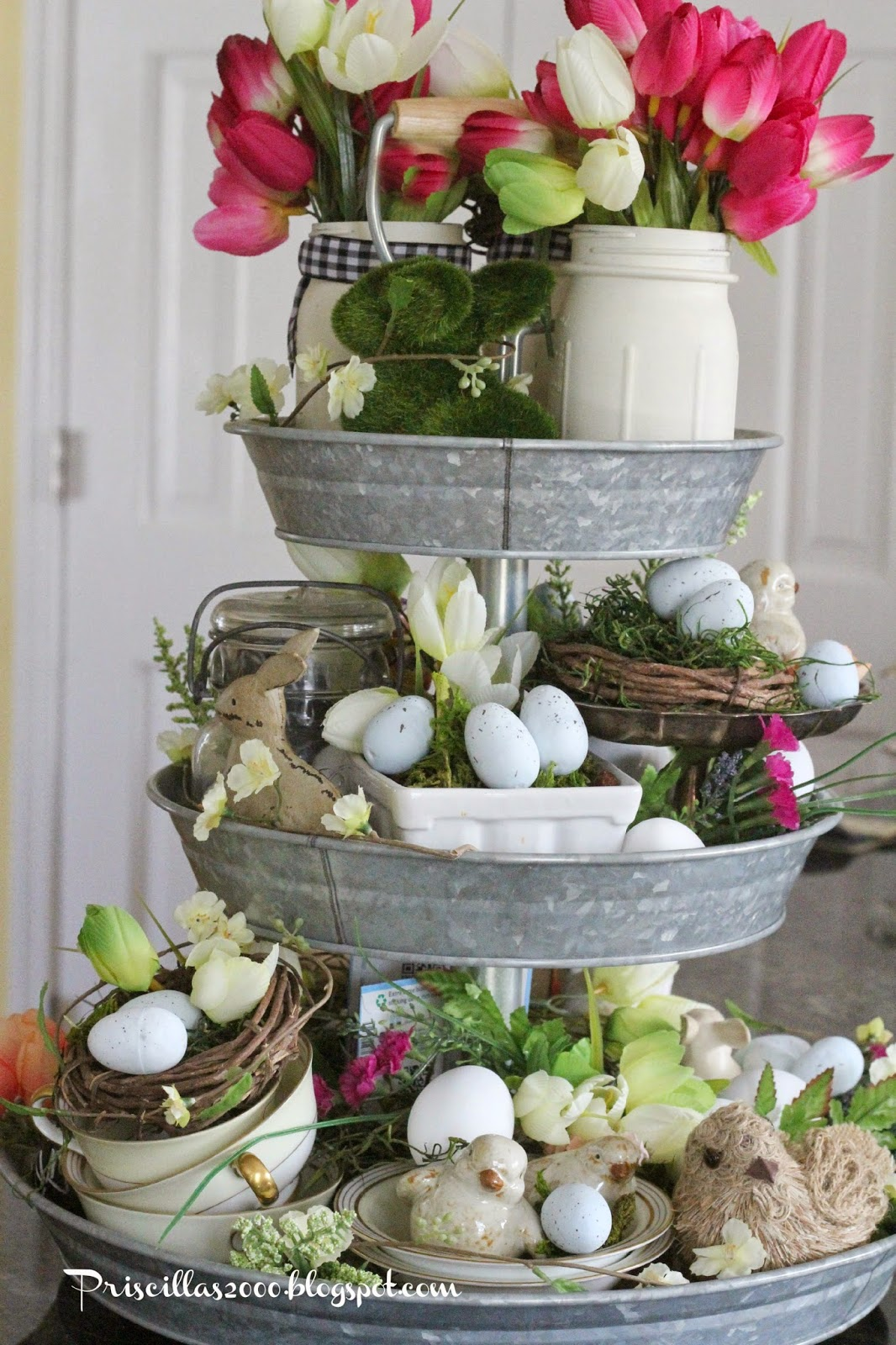 Priscillas spring galvanized centerpiece for Easter home decorations