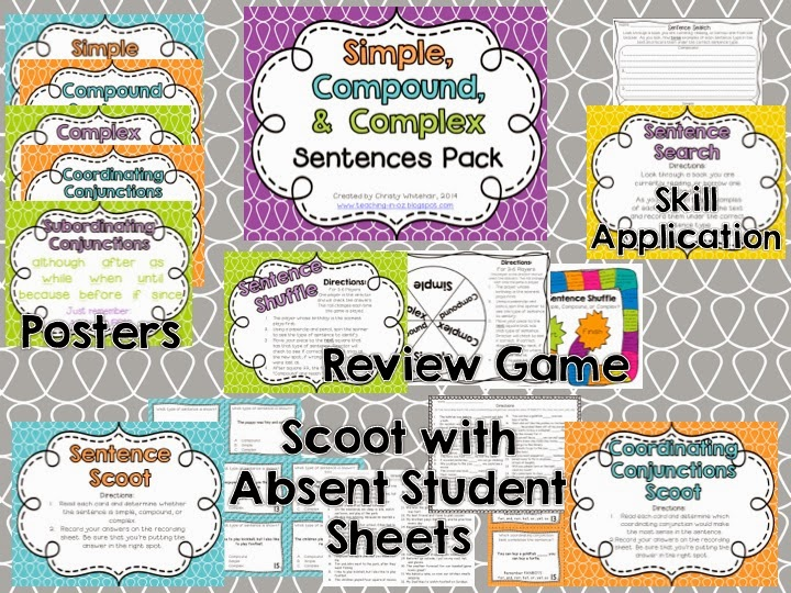 http://www.teacherspayteachers.com/Product/Simple-Compound-Complex-Sentences-Review-Pack-1091799