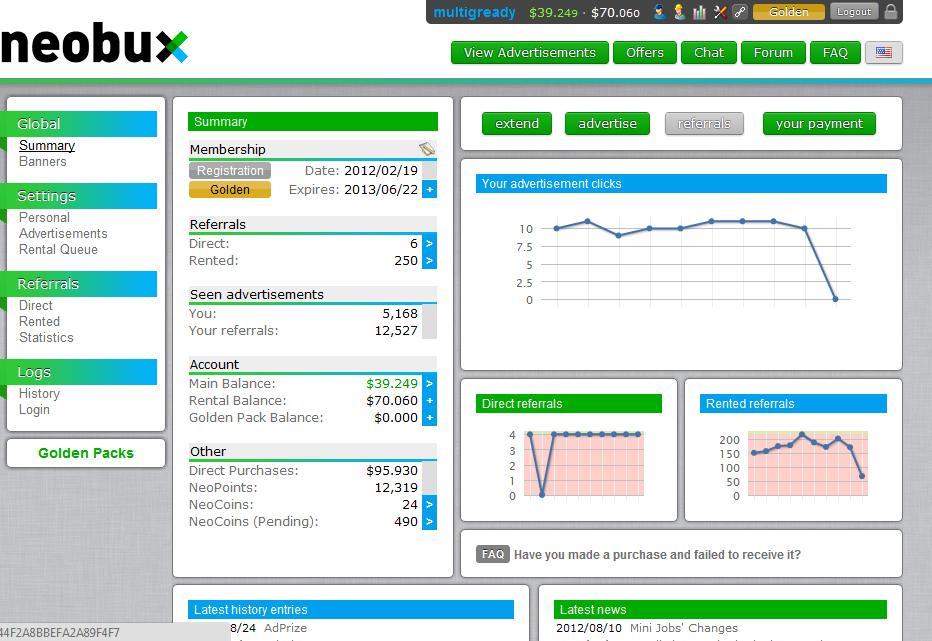Trik Bisnis Online PTC Neobux dapat 100 dollar perhari