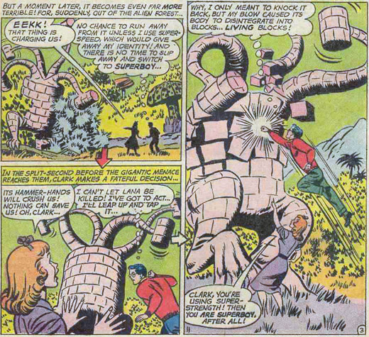 Adv 300: Clark Kent's blow causes giant creature to disentegrate into cubes