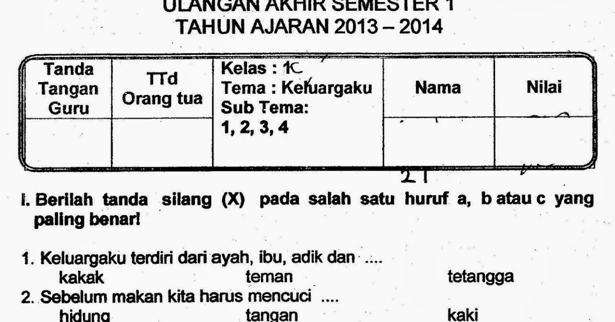 Ragam Budaya Nusantara Soal Uas Kelas 1 Tema 4 Keluargaku Semester 1 Kurikulum 2013