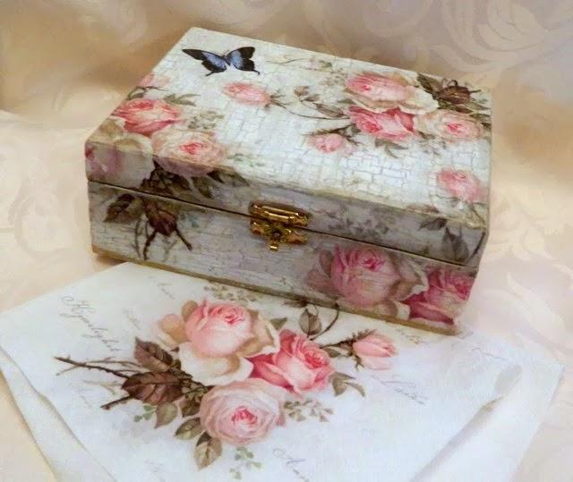 Kimber kreations vintage decoupage box - Como decorar cajas de madera estilo vintage ...