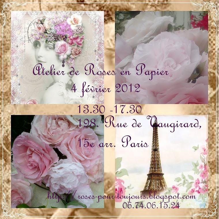 Atelier de roses en papier à Paris