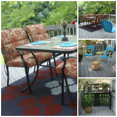 Deck, stencil, outdoor rug, redo, restyle, antique bed, outdoor area, redecorate