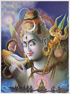 Shiva drinking the lethal poison, halahal; in the background the gods churning the cosmic ocean; modern calendar print.