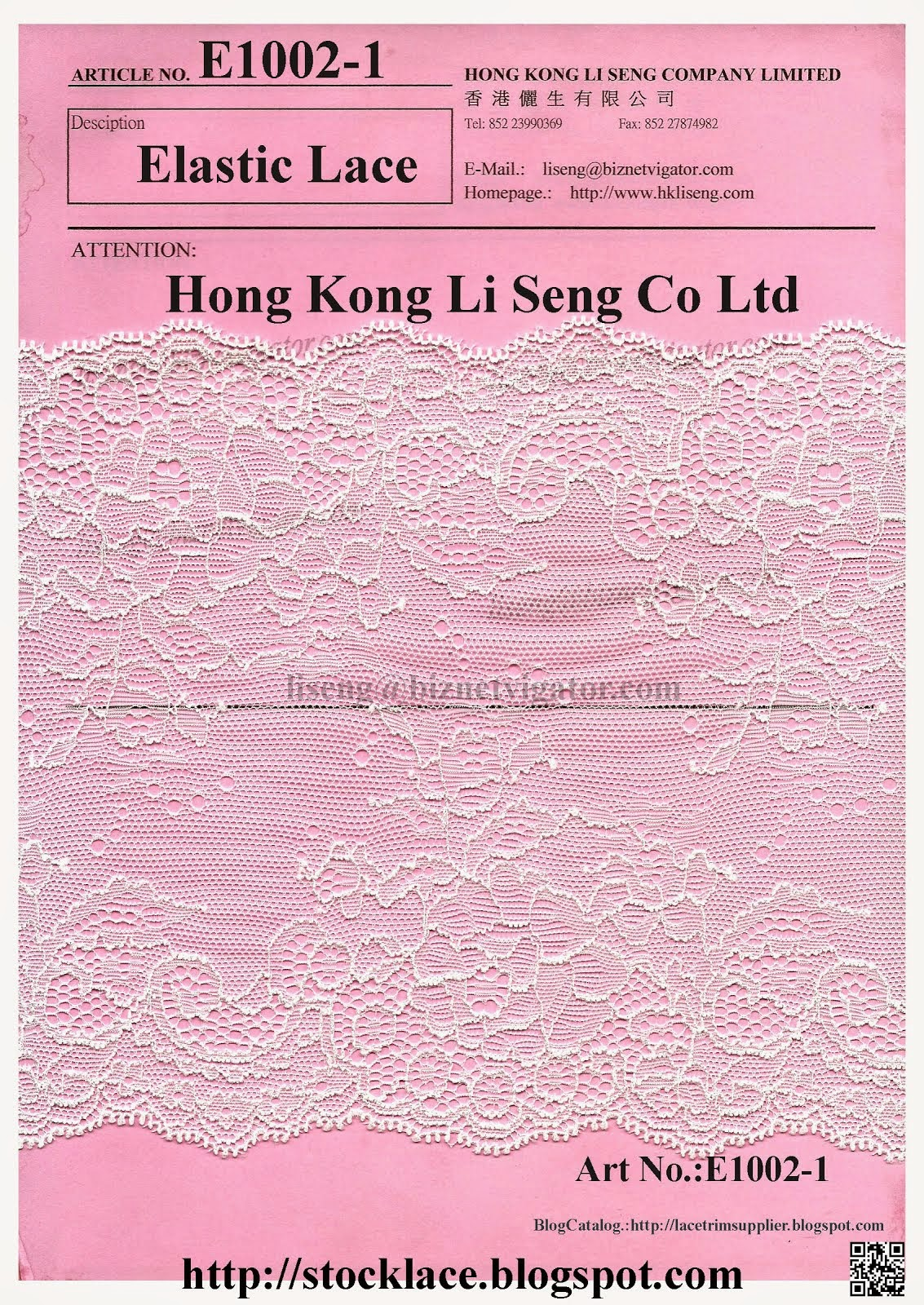 In-Stocklot Elastic Lace  Manufacturer - Hong Kong Li Seng Co Ltd