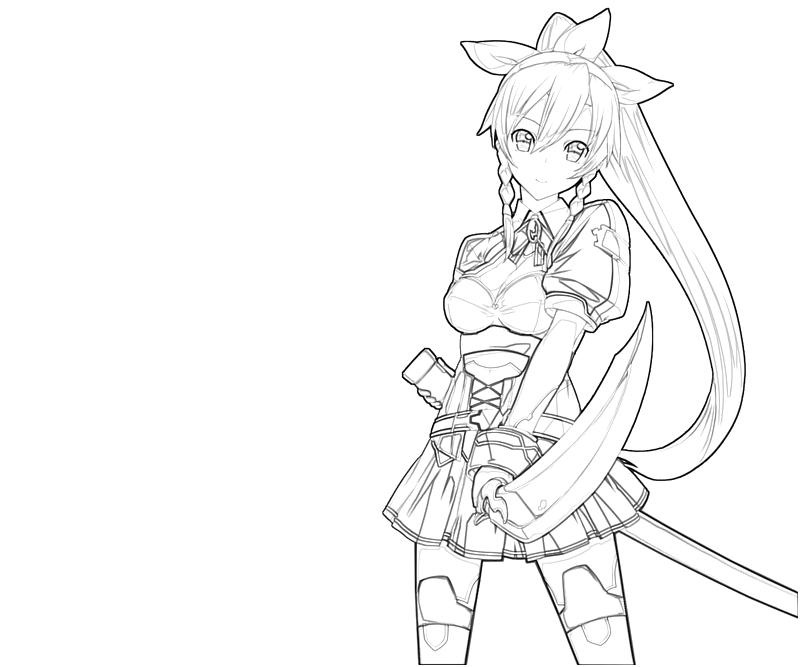 Leafa sword lean printing for Coloring pages sword