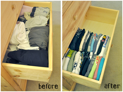 Organized T-shirt Drawers