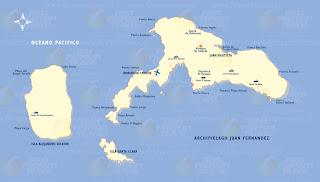 Mapa del  archipiélago Juan Fernández