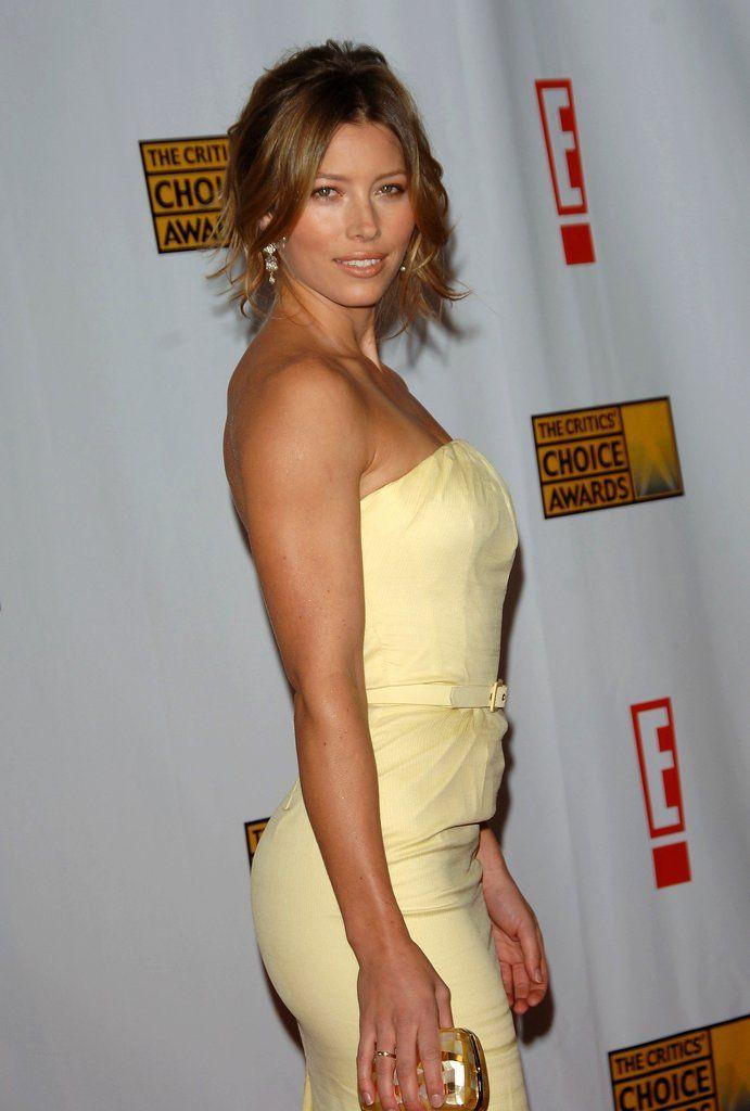 Beautiful Tanned Jessica Biel In Pastel Yellow Dress