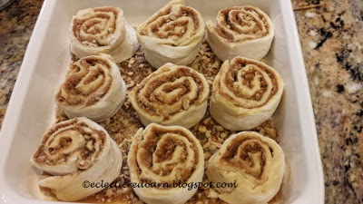 Eclectic Red Barn: Sticky buns ready for the oven