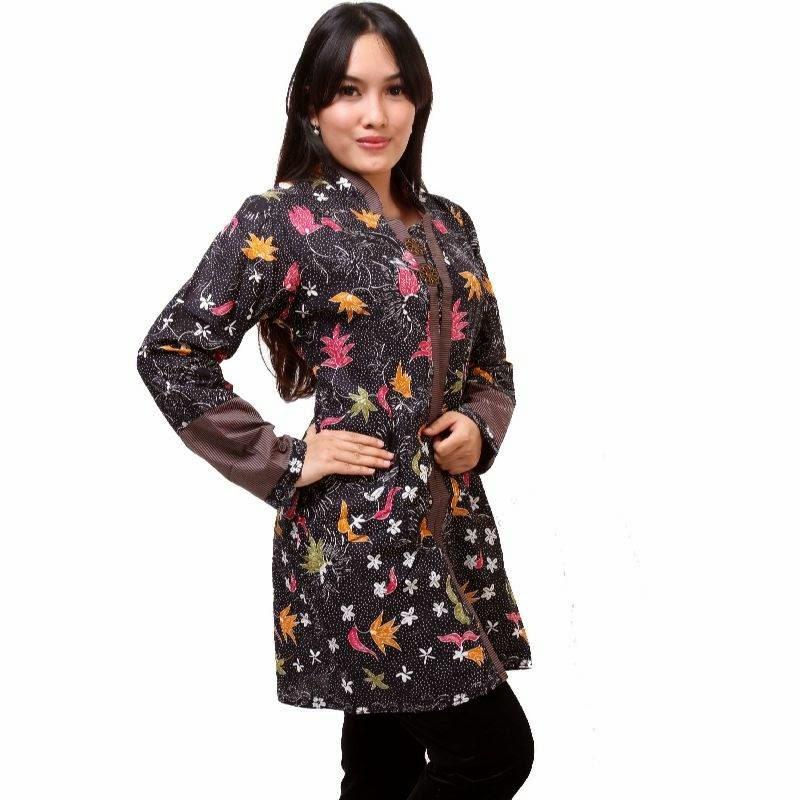 Contoh Desain Baju Batik Kantoran Wanita