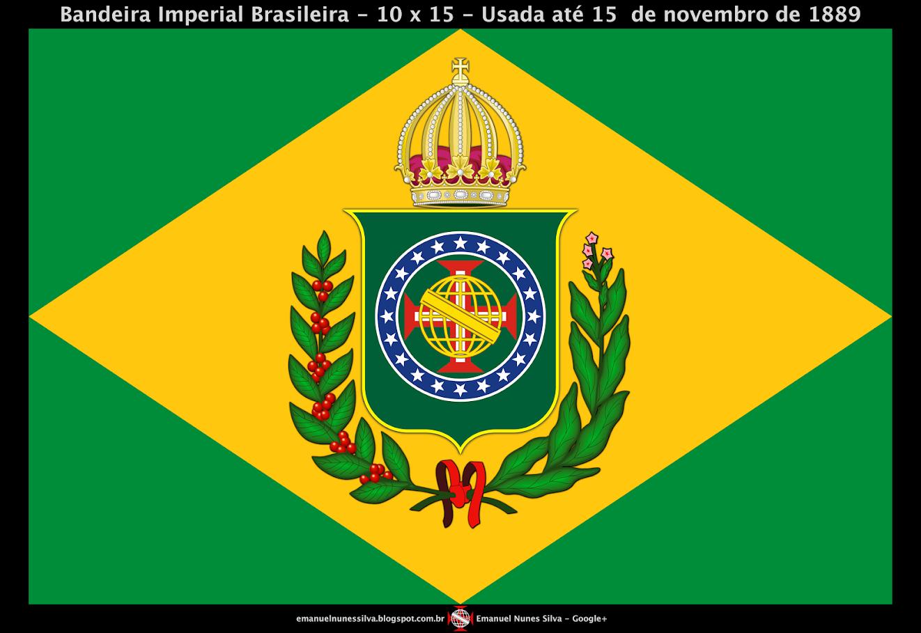 Bandeira do Brasil - Até 1889 - Modelo (10 X 15) - Crédito da Imagem: Emanuel Nunes Silva