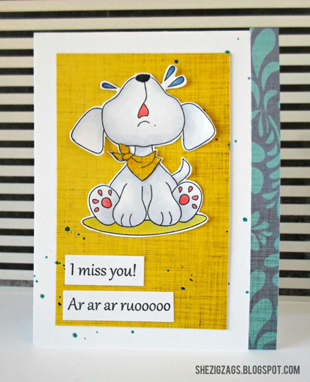 Peachy Keen Stamps Miss You Card