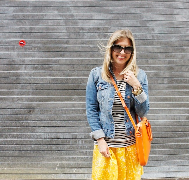 stripes, printed skirt, denim jacket, summer outfit in boston