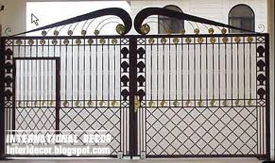 Modern Iron Gate Design, Glided Black Iron Gate Design 2013 With Small Iron  Door