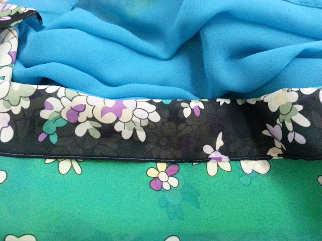 shawl chiffon 2 layer printed flower sky blue