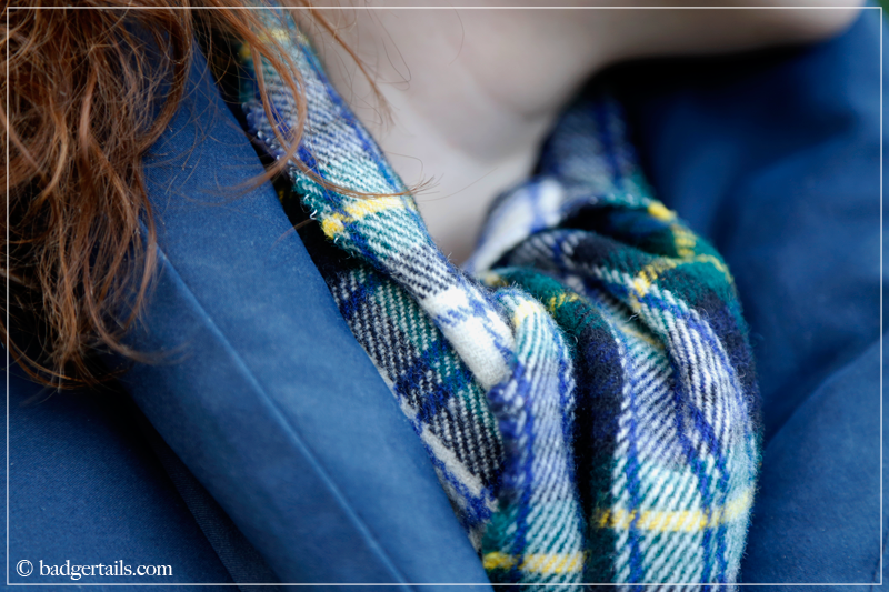Tartan Scarf with Navy Gilet