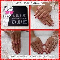 French red simple nail art Shellac polish manicure sculpt almolettos neon coral color