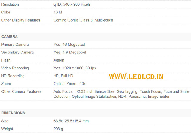 Galaxy S4 Zoom Specifications