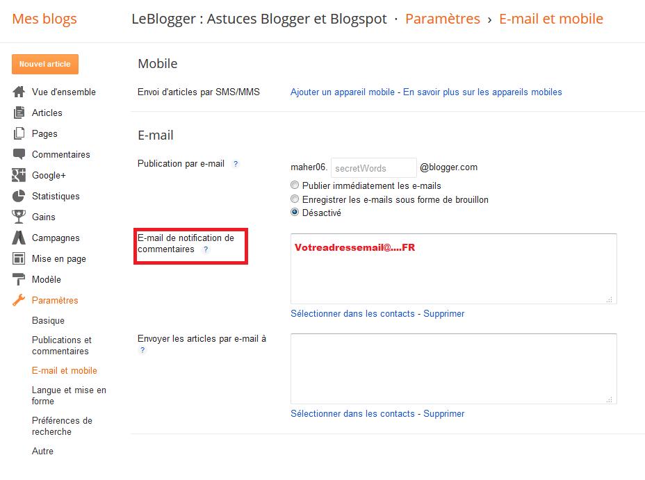 Notifier des commentaires par email sur Blogger